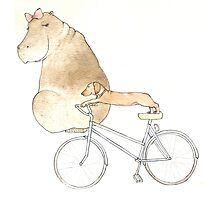 Hippo and Dog out for a bike ride Photographic Print