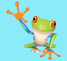 Colorful funny green frog by Olga Chetverikova