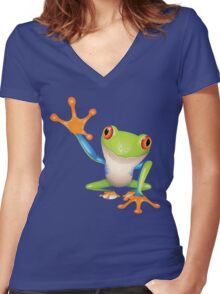 Colorful funny green frog Women's Fitted V-Neck T-Shirt