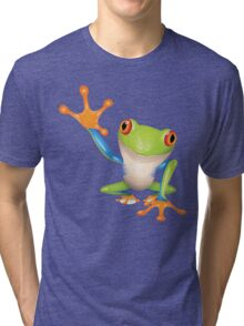 Colorful funny green frog Tri-blend T-Shirt