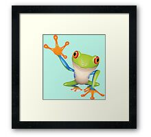 Colorful funny green frog Framed Print