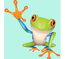 Colorful funny green frog Photographic Print