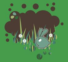 Green bunny with flowers One Piece - Short Sleeve