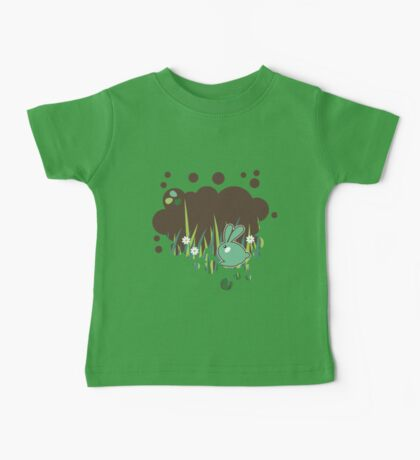 Green bunny with flowers Baby Tee