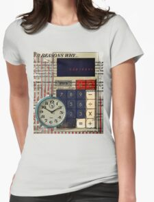 cool geeky nerdy alarm clock retro calculator  Womens Fitted T-Shirt