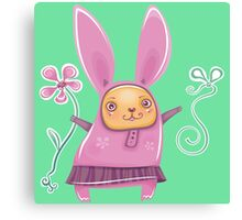 Pink girl bunny in skirt Canvas Print