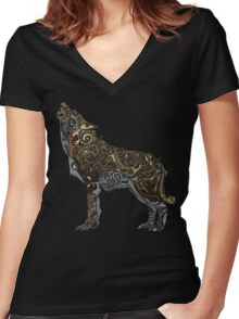 wolf - wild animal. Colorful wolf artwork Women's Fitted V-Neck T-Shirt