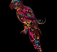 Colorful parrot. Parrot floral pattern. by Olga Chetverikova