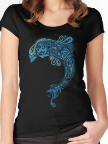 Blue dolphin - unique sea artwork   Women's Fitted Scoop T-Shirt