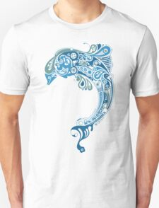 Blue dolphin - unique sea artwork   Unisex T-Shirt