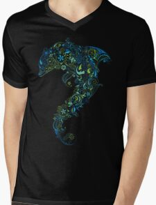 Dolphin - floral with flowers pattern Mens V-Neck T-Shirt