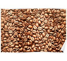 Fresh Brown Coffee Beans Background Pattern Texture Poster