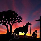 Cowboy and his Horse Worshipping at the foot of the Cross Easter Sunset by Rick Short