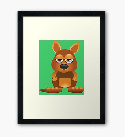 Tired cute kangaroo Framed Print