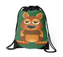 Tired cute kangaroo Drawstring Bag