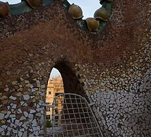 Barcelona Through Gaudi's Whimsical Little Window on the Tiled Roof of Casa Batllo by Georgia Mizuleva