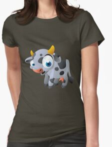 Cute goggle-eyed calf Womens Fitted T-Shirt