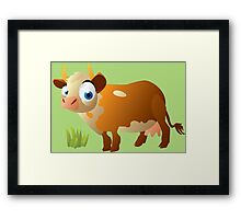 Funny surprised cow Framed Print