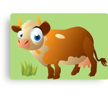 Funny surprised cow Canvas Print
