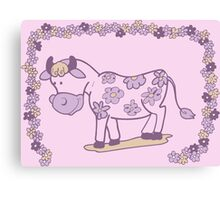Creative pink floral cow Canvas Print