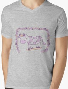 Creative pink floral cow Mens V-Neck T-Shirt
