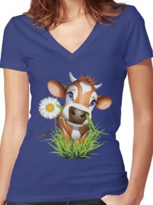 Cute cow has a gift for you Women's Fitted V-Neck T-Shirt