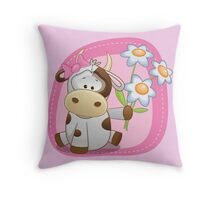 Lovely happy cow Throw Pillow