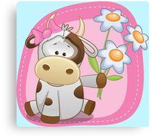 Lovely happy cow Canvas Print