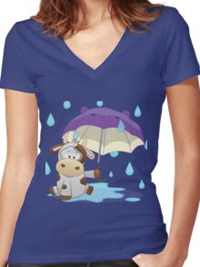 Silly cow under umbrella Women's Fitted V-Neck T-Shirt