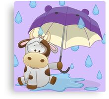 Silly cow under umbrella Canvas Print