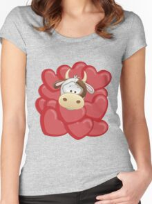 Little calf totally in love Women's Fitted Scoop T-Shirt