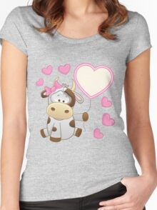 Baby girl calf with hearts and balloon Women's Fitted Scoop T-Shirt