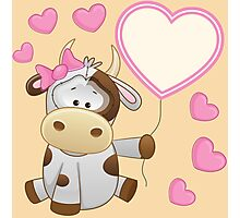 Baby girl calf with hearts and balloon Photographic Print