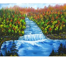 Waterfall landscape oil painting Photographic Print