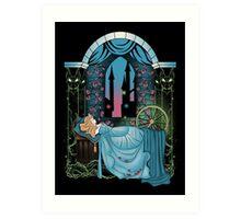 The Sleeping Rose - Blue Dress Art Print