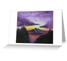 Sunset in Mountain oil painting  Greeting Card