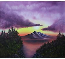 Sunset in Mountain oil painting  Photographic Print