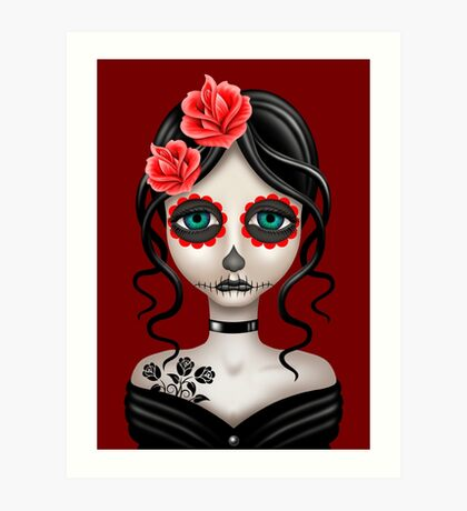 Sad Day of the Dead Girl on Red Art Print