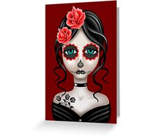 Sad Day of the Dead Girl on Red Greeting Card