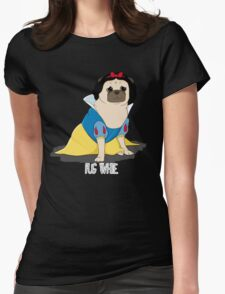 Pug White Womens Fitted T-Shirt