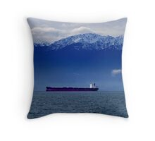 Tanker at Anchor Throw Pillow