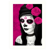 Day of the Dead Girl with Pink Roses  Art Print