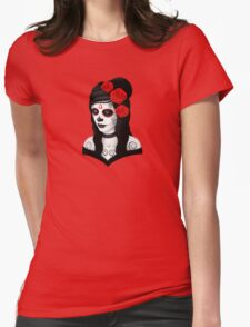 Day of the Dead Girl with Red Roses on White Womens Fitted T-Shirt