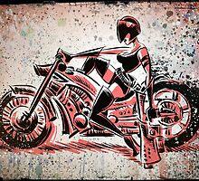 Motorcycle, Girl, art, bike, woman, female, blaster, helmet, visor, wheels, chopper, harley, harleydavidson, harley davidson by Joe Badon
