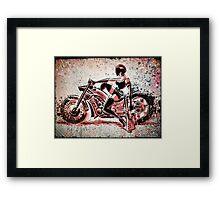 Motorcycle, Girl, art, bike, woman, female, blaster, helmet, visor, wheels, chopper, harley, harleydavidson, harley davidson Framed Print