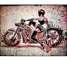 Motorcycle, Girl, art, bike, woman, female, blaster, helmet, visor, wheels, chopper, harley, harleydavidson, harley davidson Photographic Print