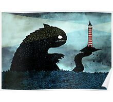 Sea monster & Lighthouse Poster