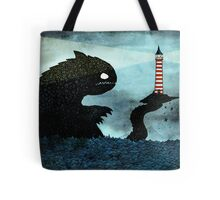 Sea monster & Lighthouse Tote Bag
