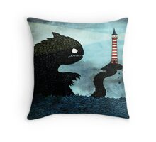 Sea monster & Lighthouse Throw Pillow