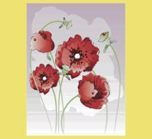 Bright red poppy flowers Kids Tee